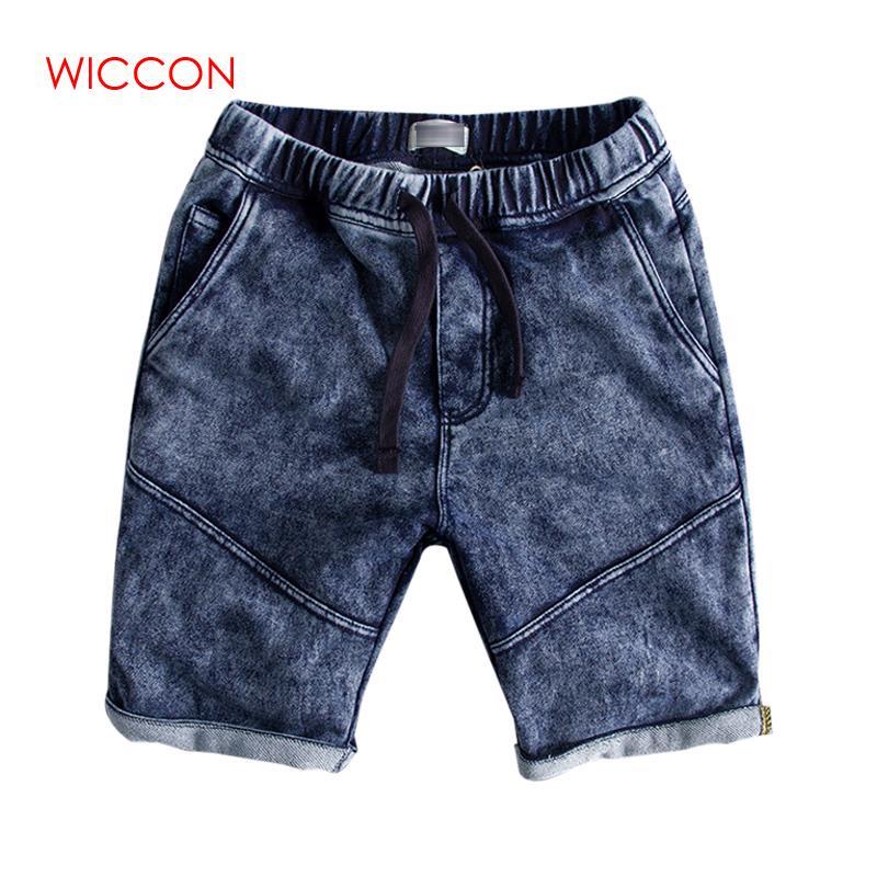 Casual Shorts For Men Elastic Waist New Gray Washed Men's Denim Shorts Male Cowboy Short Pants