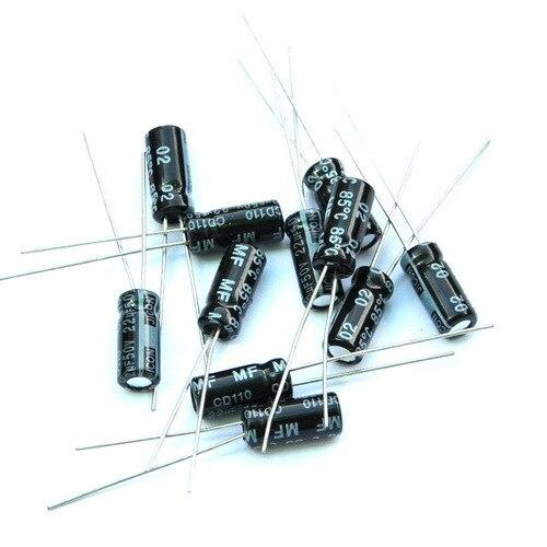 (50 шт./лот) 22 мкФ 50 В Алюминий электролитический конденсатор радиальные.