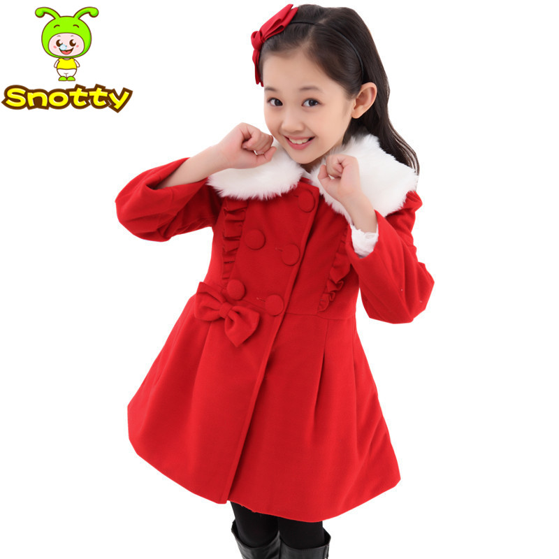 75500096e Hot sale girls wool coat yellow bowknot outerwear kids for 6 12 ...