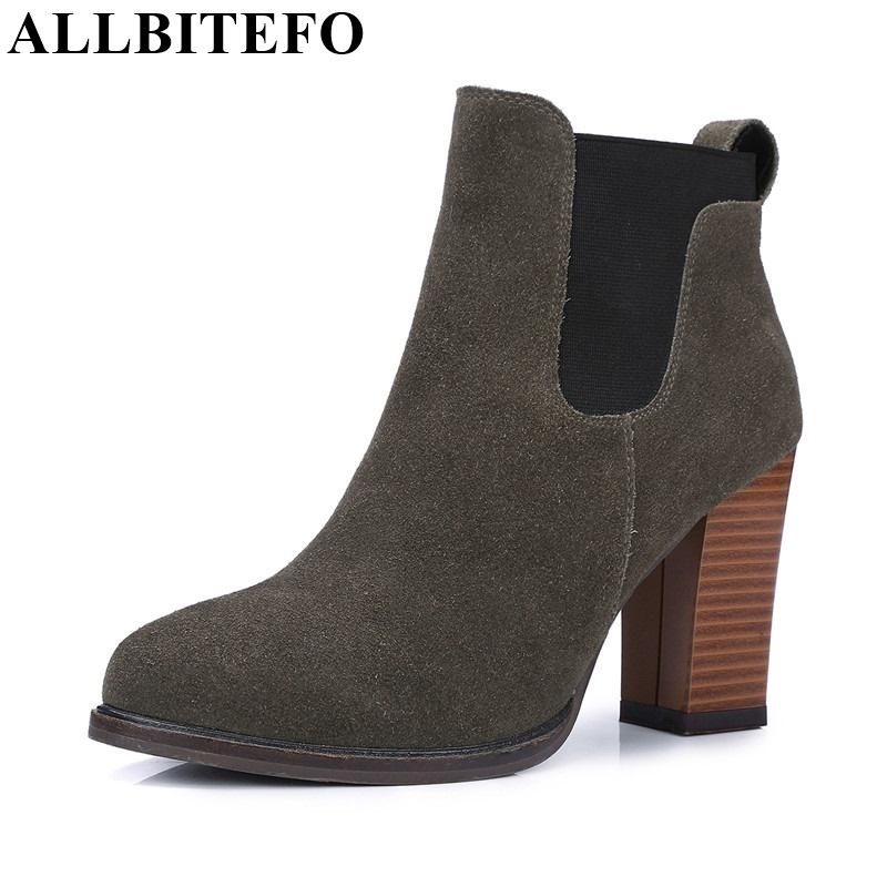 ALLBITEFO thick heel pointed toe genuine leather Elastic band martin boots fashion platform women boots High quality ankle boots 4 colors round toe charm high heel genuine leather platform martin ankle boots fashion western high quality short womne boots