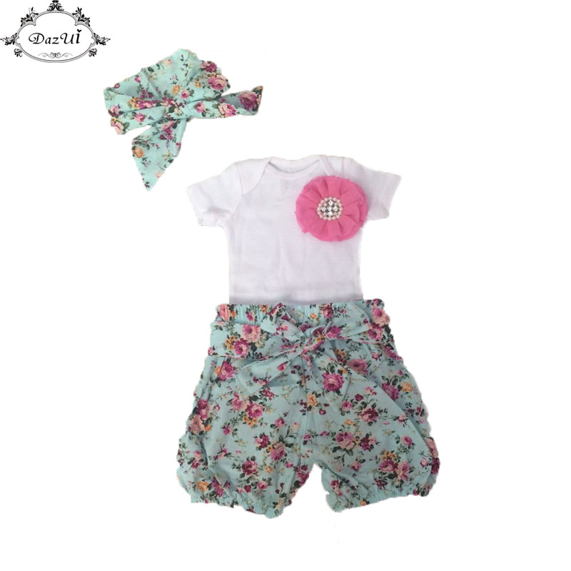 Floral Baby Girls Set Short Sleeve White Flower Newborn Bodysuit Short Headband  Outfit  New Toddler Outfit Floral Children Set fashion 2pcs set newborn baby girls jumpsuit toddler girls flower pattern outfit clothes romper bodysuit pants