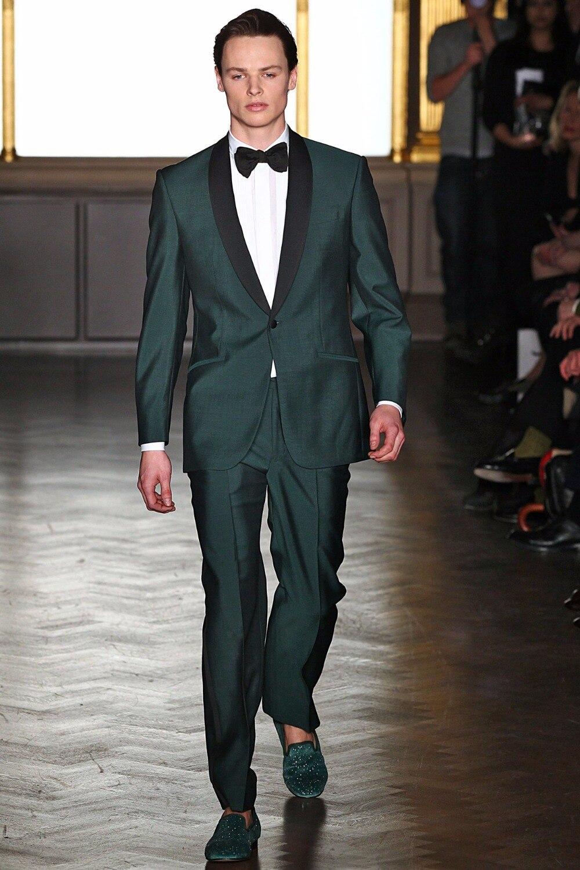 2017 Latest Coat Pant Designs Green Purple Shawl Lapel Men Suit Slim Fit Tuxedo 2 Piece Blazer Custom Prom Party Suits Masculino