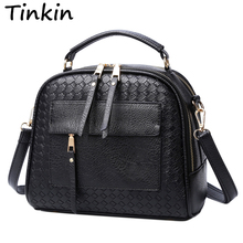 Tinkin New Arrival Knitting Women Handbag Fashion  Weave Shoulder Bag Small Casual Cross Body Bag Retro Totes