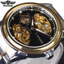 Ganador 2016 Nuevo Diseño Reloj de Los Hombres Relojes de Primeras Marcas de Lujo Medio Esqueleto Negro Oro Moda Casual Reloj Mecánico Transparente