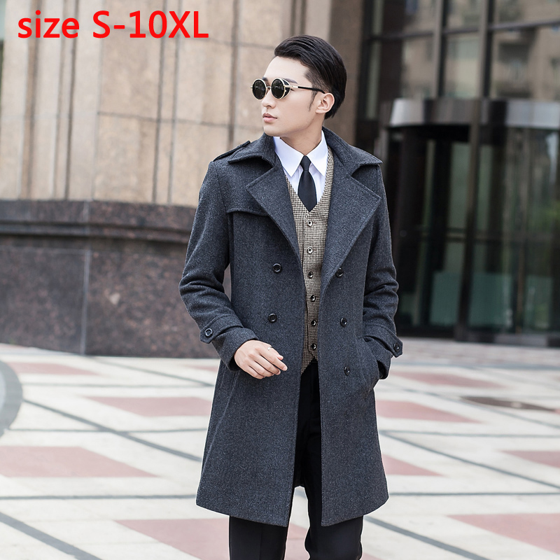 New Arrival Obese Woolen Overcoat Men's Medium-long High Quality Double Breasted Plus Size S - 3xl 4xl 5xl 6xl 7xl 8xl 9xl