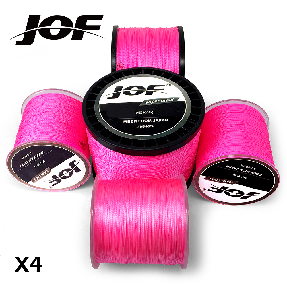 JOF PE Braided Fishing Line Pink Multifilament Fishing Cord Strong 4 Strands 100M 300M 500M 1000M