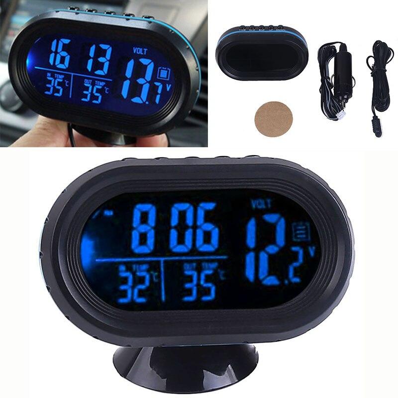 830f8db21ed7 12-24 V coche azul LCD pantalla Digital Reloj entrada salida temperatura  termómetro voltímetro Digital probador Monitor medidor voltaje reloj