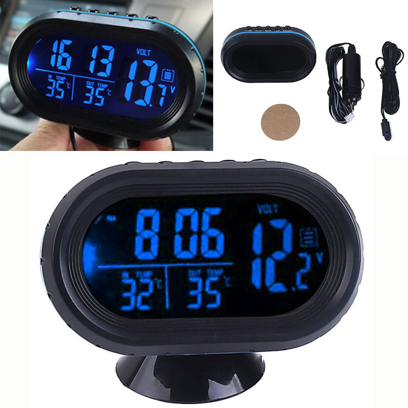 12-24V Car Blue LCD Digital Display Clock In/Out Temperature Thermometer Voltmeter Digital Tester Monitor Meter Voltage Clock