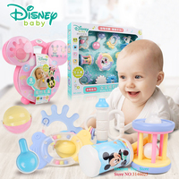 Disney 3 Month+ Mickey Minnie Box Cute Cartoon Safe Hand Bell Rattles Baby Toys Gifts for Newborn Teething Development Infant