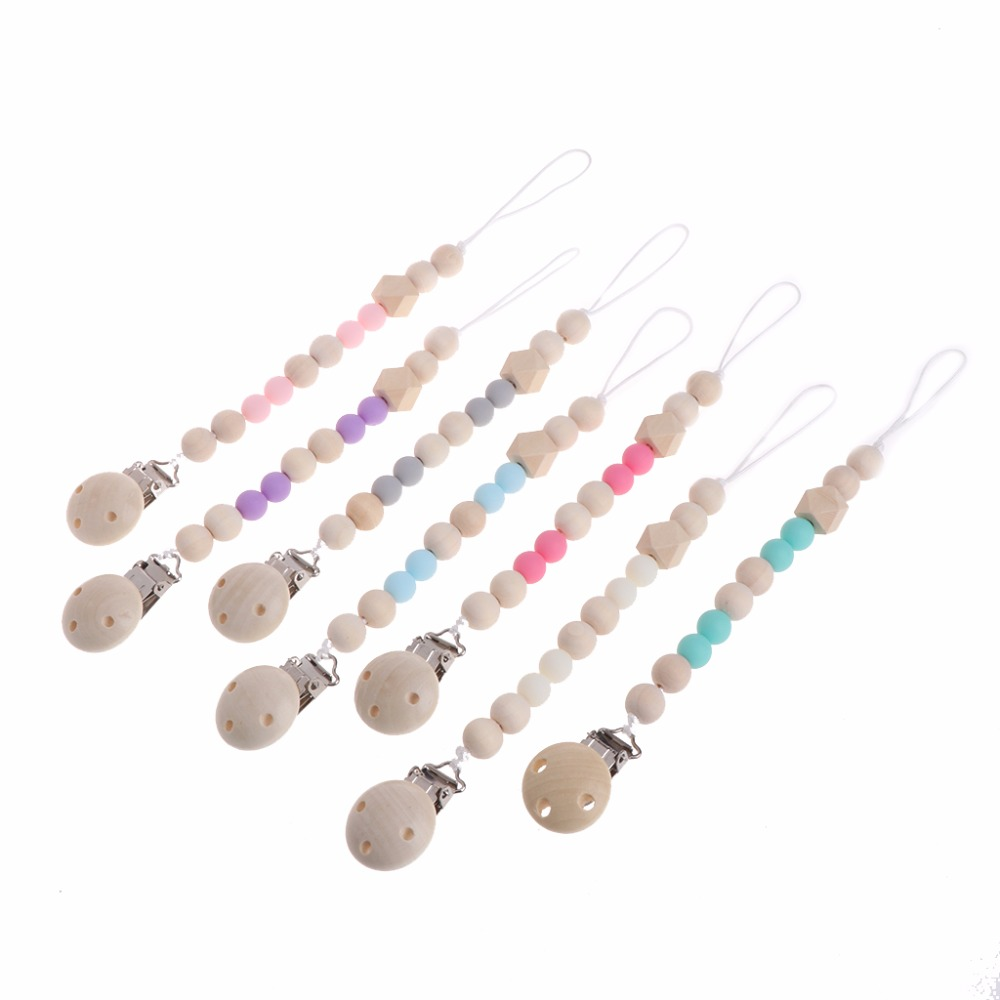 купить 2017 Nipple Holder Beaded Wooden Baby Pacifier Clip Chain Nipple Leash Strap Metal Pacifier Clips Soother Chain #20/12 по цене 63.92 рублей