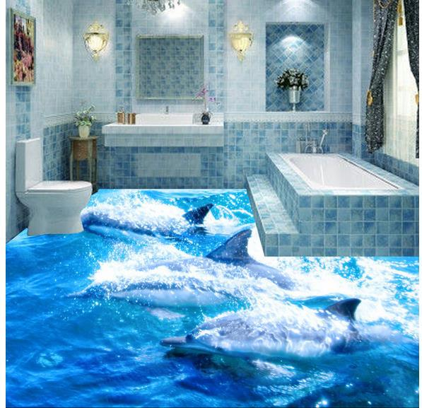 benutzerdefinierte foto boden tapete 3d stereoskopischen ozean dolphin boden 3d wandbild pvc. Black Bedroom Furniture Sets. Home Design Ideas