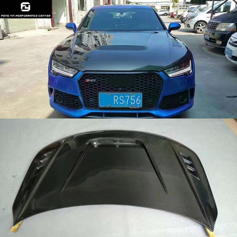 New Carbon Fiber Front Bumper Engine Hood Vent Cover For Audi A7 Rs7 2012 2013 2014 2015 2016 2017 2018 Hoods Exterior Parts