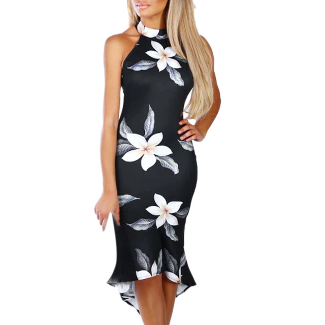 Summer Fashion Party Dress Women Cold Shoulder Blooming Babe Floral Dip Hem  Party Evening Bodycon Midi f7b57d8cec42