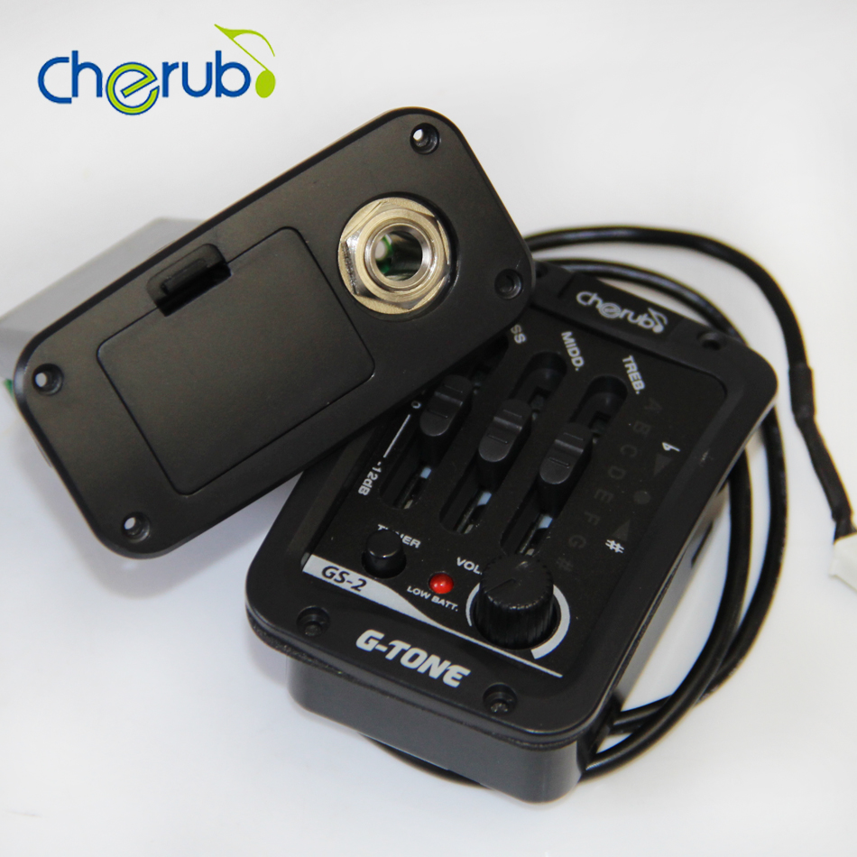 Cherub Acoustic Guitar Preamp GS-2 3 Band EQ with Phase and LCD Chromatic Tuner / Acoustic Guitar Pickups guitar pick holder joyo eq 307 folk guitarra 5 band eq acoutsic guitar equalizer high sensibility presence adjustable with phase effect and tuner