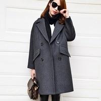 Dark Aqua Wool Coat 2016 Turn Down Collar Long Cocoon Shape Casual Winter Coat Women Camel