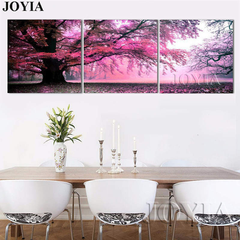 3 piece home decor wall painting purple big tree landscape decorative canvas art pictures for living room bedroom no frame