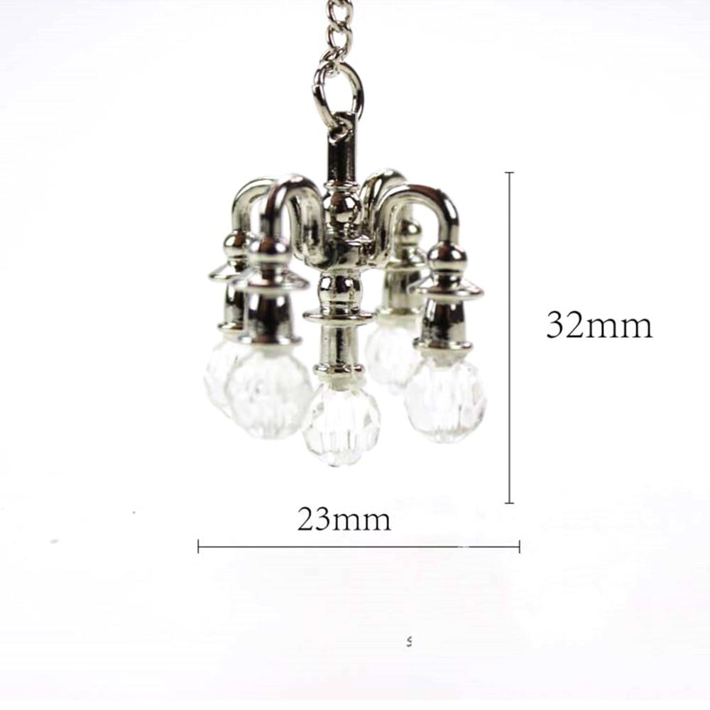 1/12 Dollhouse Miniature Accessories Mini Chandelier Simulation Pendant Lamp Model Toys for Doll House Decoration