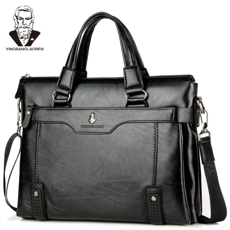 Men's Leather Briefcase Vintage Business Bag Handbag Men Computer Fashion Messenger Bags Man Shoulder Bag Postman Male Handbags