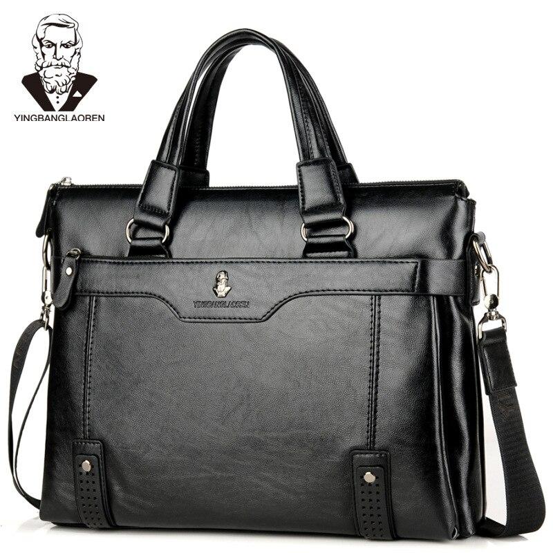 Men's Leather Briefcase Vintage Business Bag Handbag Men Computer Fashion Messenger Bags Man Shoulder Bag Postman Male Handbags
