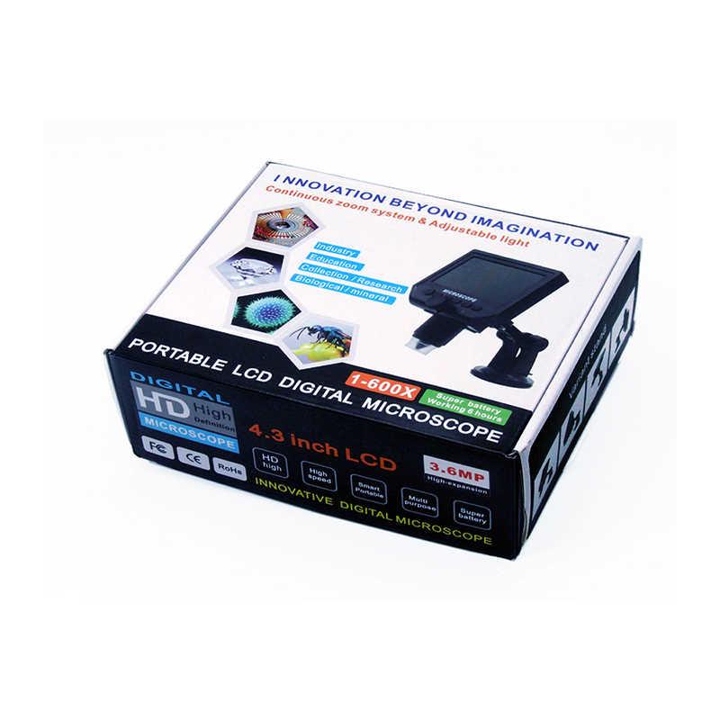 """1-600x 3.6MP USB デジタル電子顕微鏡ポータブル 4.3 """"HD 液晶画面 8 LED VGA 顕微鏡 PCB マザーボードの修理"""