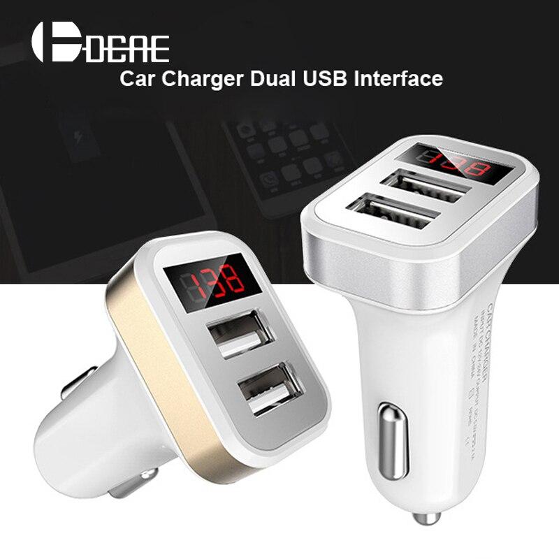 2 USB auto nabíječka s LED obrazovkou auto nabíječka do auta nabíjení pro iPhone XS Max XR Samsung Xiaomi Adaptér Rychlá nabíječka do auta