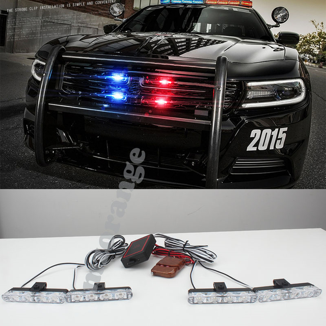4x4/led LED DRL Ambulance Police Light 12V Strobe Warning Light 4 In 1  Wireless