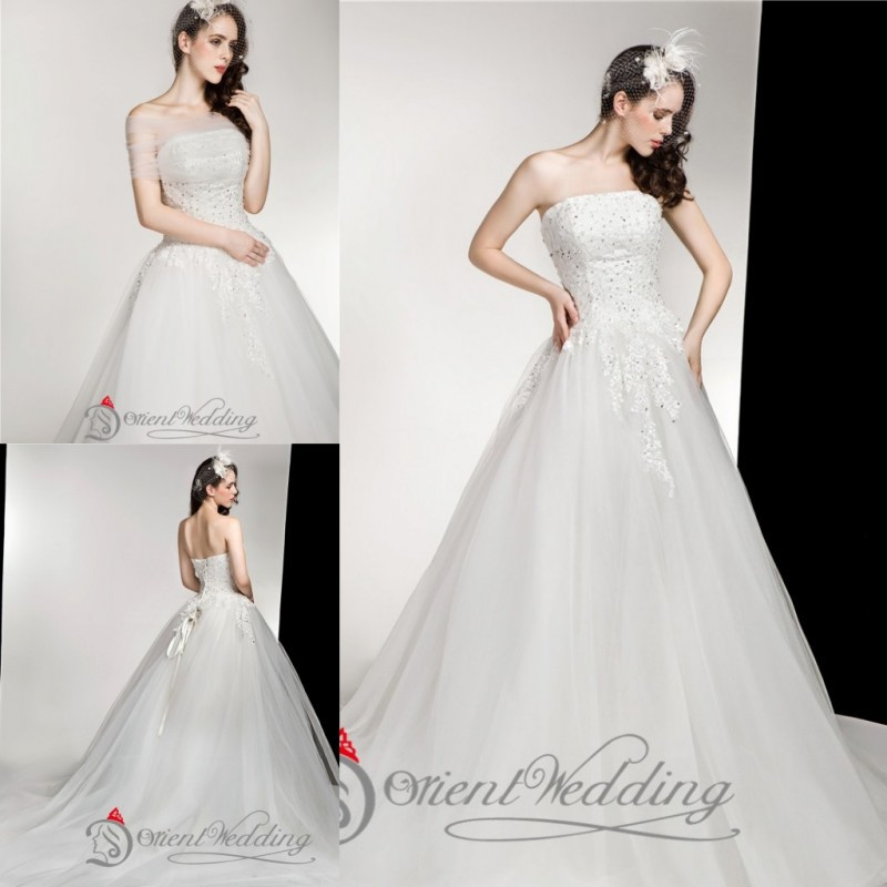 US $148.0 |Fashion Strapless Beaded Lace up Custom Made Plus Size Country  Style Western Wedding Dresses Bridal Gowns 2015 Real Picture-in Wedding ...