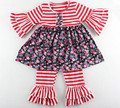 Red White Striped Baby Clothes ,Ruffle Girls Clothing Set ,Fashion Girls Top Ruffle Pants Set
