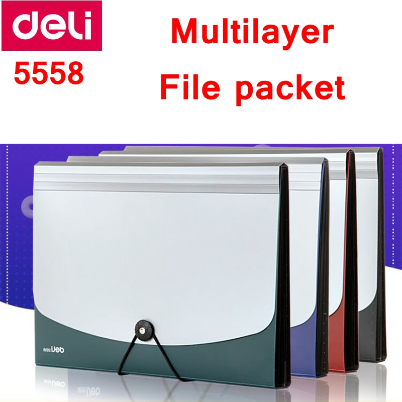 1PCS Deli A4 File Expanding Wallet Multilayer File Packet File Bag Documents Box 12 Layers With Mark 4 Colors Optional Wholesale