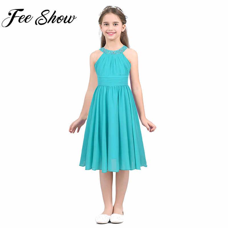 Фото FEESHOW/2019 г. летнее шифоновое платье для девочек зеленые платья без рукавов в форме