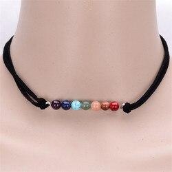 Main multicolore à la mode 7 chakra pierre naturelle cristal coréenne velours chaîne choker collier pour 80 90's filles