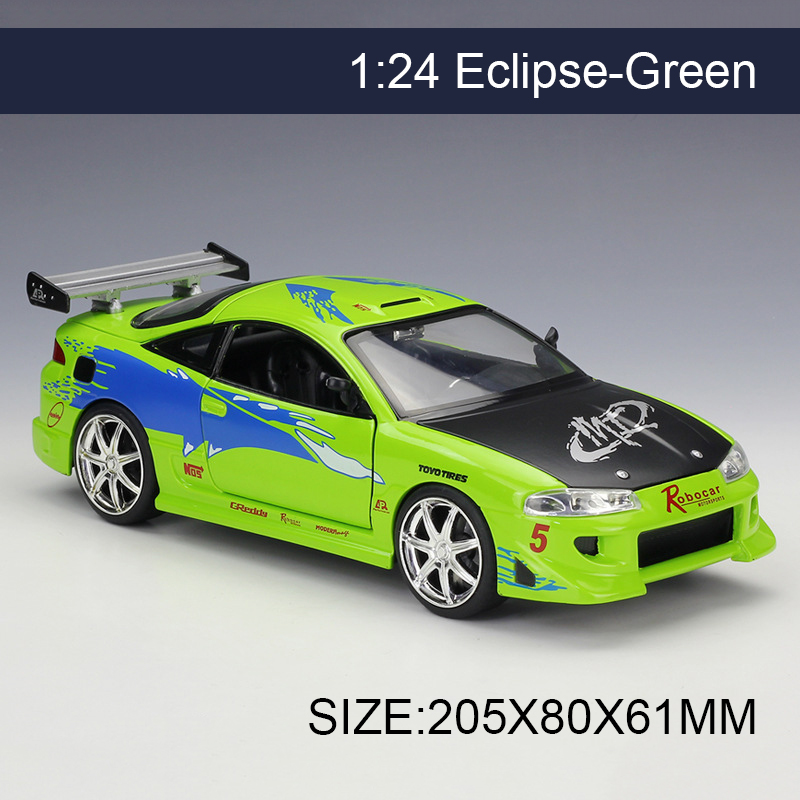 1:24 Model Car Eclipse Green Metal Vehicle Play Collectible Models Sport Cars toys For Gift FAST AND FURIOUS 8 F8