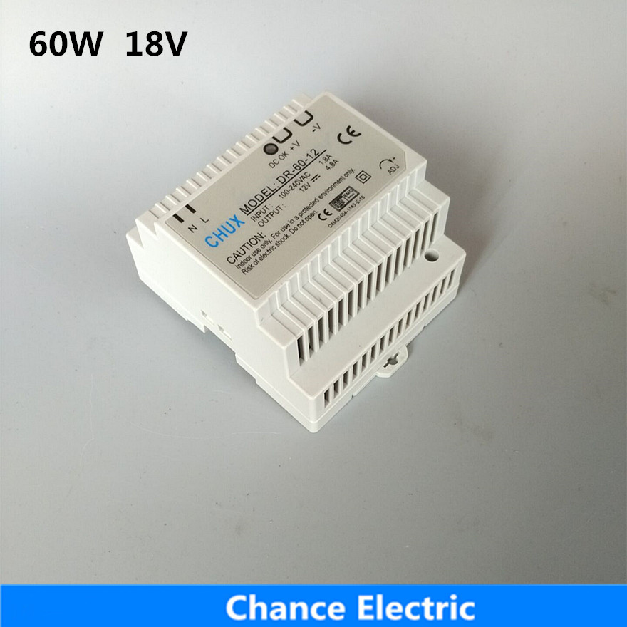 DR-60-18 Din Rail type Switching power supply 60W 18VDC 3A Output for led light ac dc dr 60 5v 60w 5vdc switching power supply din rail for led light free shipping