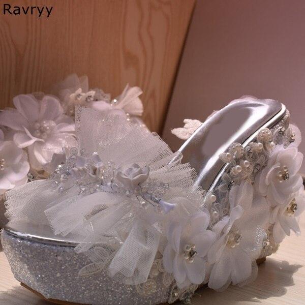Plate Robe Blanc Sandales Fleurs Femelle Mariage Talons Soirée Élégant Chaussures De Femmes D'été Beige forme Cristal Cales Maille Peep Toe Décor TFq5gxw
