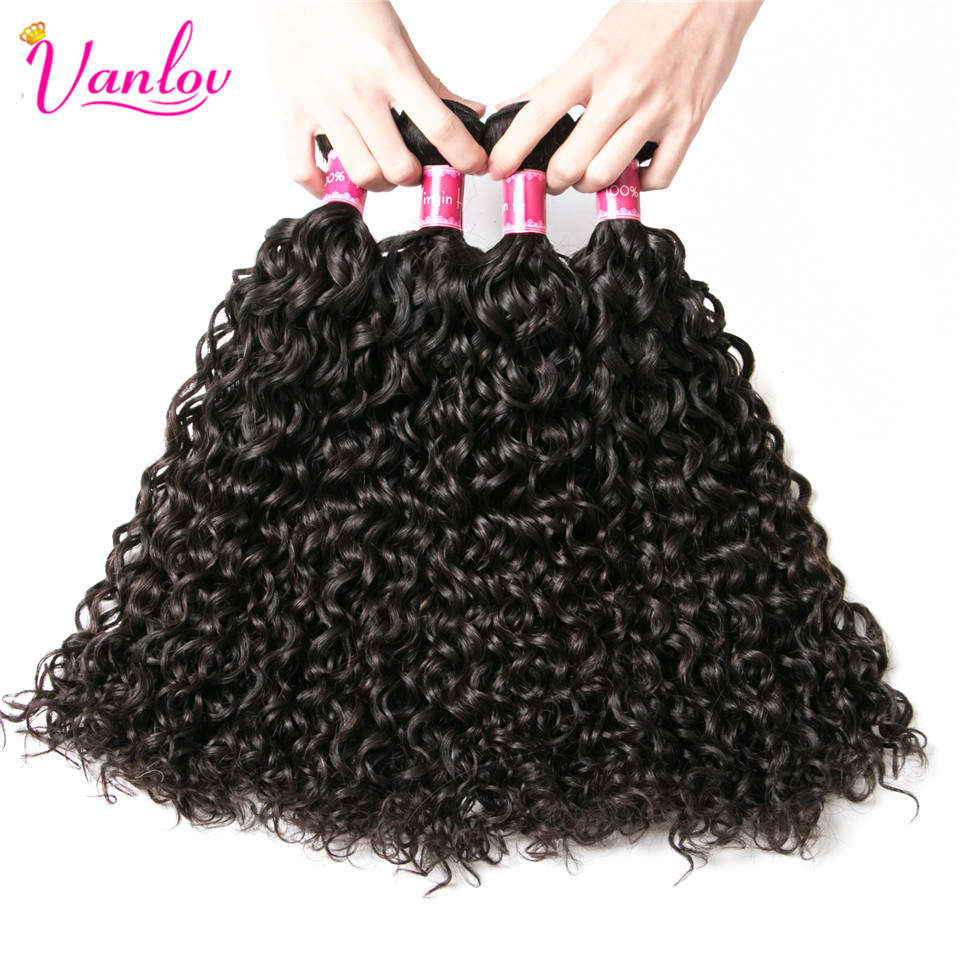Vanlov Human Hair Bundles With Frontal Brazilian Water Wave With Closure Frontal With Bundles #1B #1 #613 More Expensive Remy