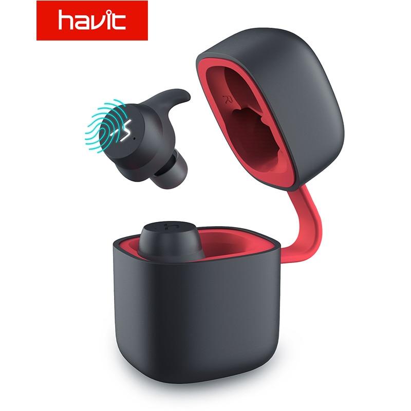 HAVIT TWS Bluetooth Earphone Wireless Sport Earphone IPX6 Touch Screen Panel Earbuds With Microphone for Bilateral