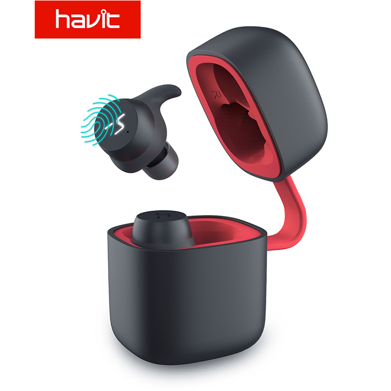 HAVIT TWS Bluetooth écouteur sans fil Sport écouteur IPX6 écran tactile panneau écouteurs avec Microphone pour appel bilatéral G1pro