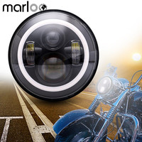Marloo DOT 7 inch Daymaker LED Headlight White Amber Green Blue Red Pink DRL Halo For Harley FatBoy Heritage Softail Motorcycle