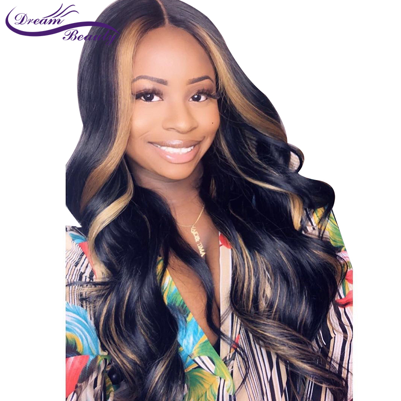 Highlight blonde Pre Plucked Lace Front Human Hair Wigs With Baby Hair Wavy Remy Hair Brazilian