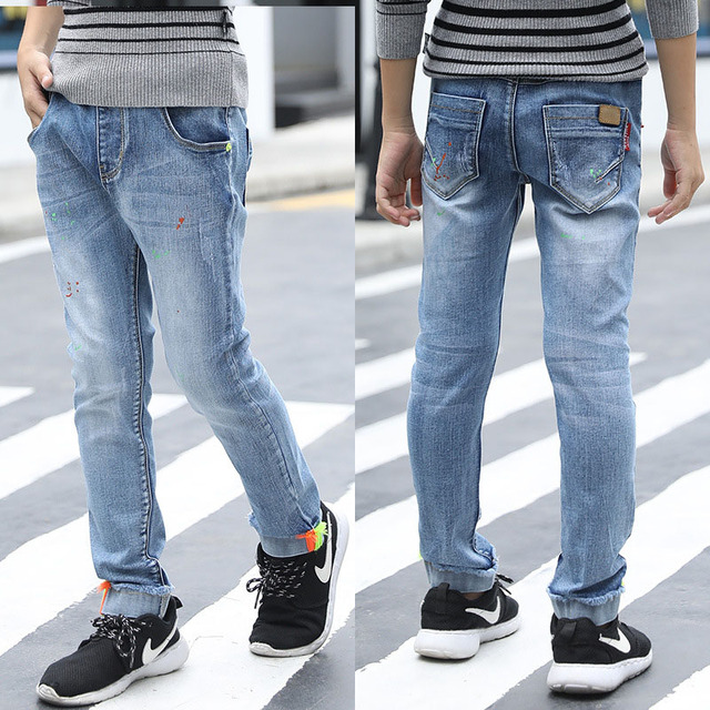 0ae53691ab8a2 Children Autumn Casual Jeans For Boys Cotton Denim Trousers Kids Elastic  Waist Skinny Pants For Boy 2 4 6 8 10 12 14 15 Years