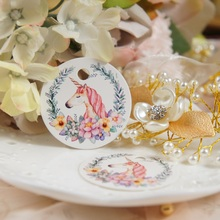 dream Unicorn 50 pcs round paper tag labels as wedding gift birthday packaging decor Scrapbooking