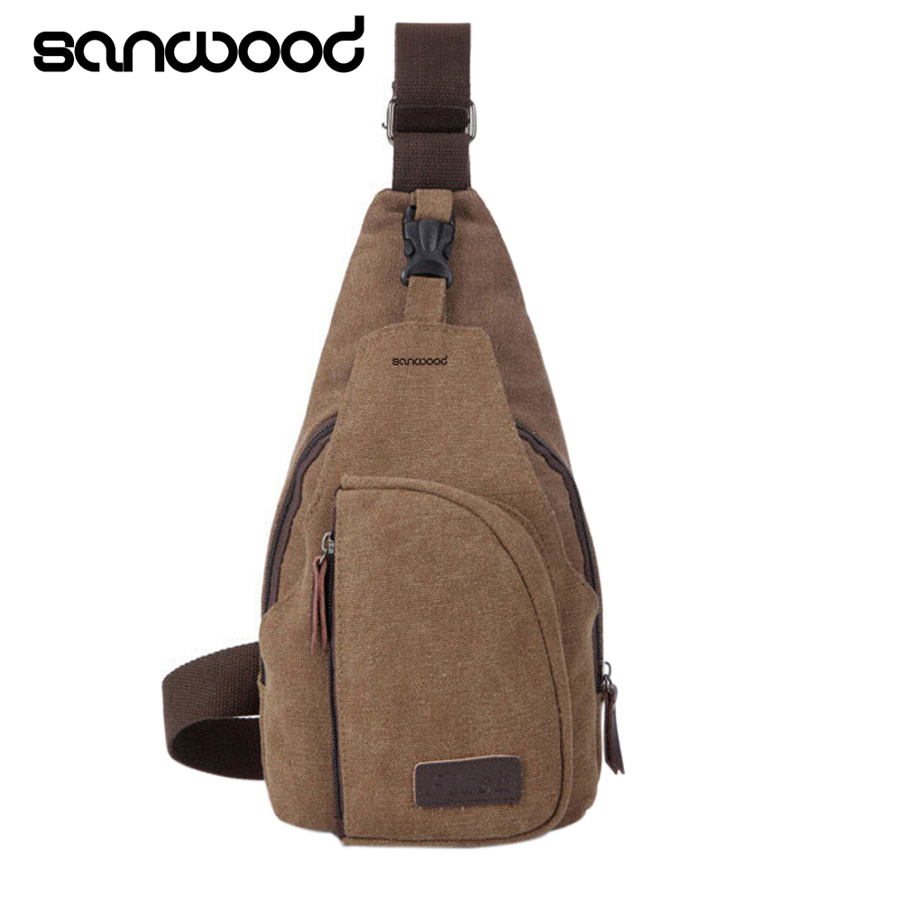 2016 Men's Small Canvas Sling Messenger Single Shoulder Crossbody Men's Small Canvas Chest Pack bag 9IHO casual canvas satchel men sling bag