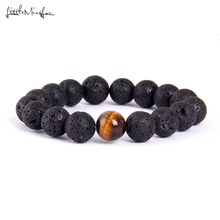 Little Minglittle 12MM Lave Stone Tiger Eye Natural beads bracelets & bangles Buddha Charm Men bracelet