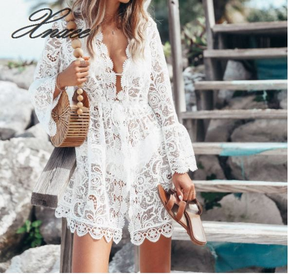 Women Ladies Lace High Waist Long Sleeve V Neck Short Mini Dress Fashion Summer Solid Casual Beach White Sundress in Dresses from Women 39 s Clothing