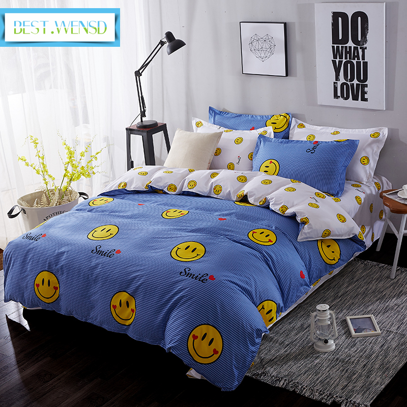 BEST WENSD lovely smiling face bedding set 6 size cotton bed sheets quilt cover pillowcases Lattice