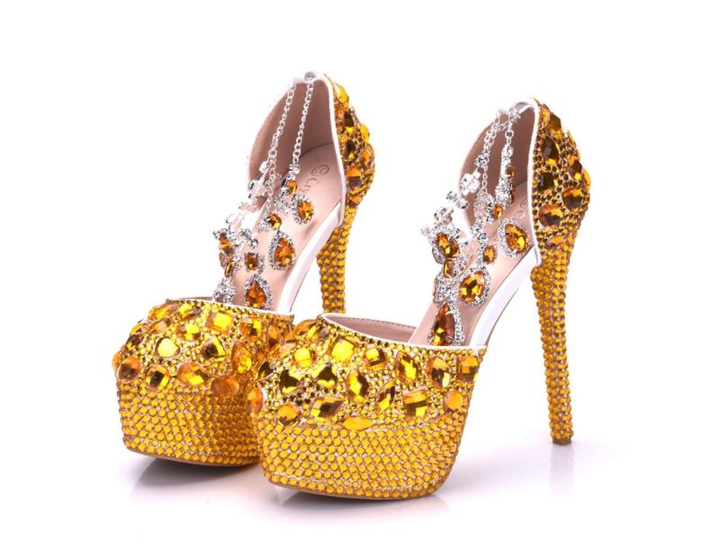 Foreign trade large gold diamond wedding shoes single shoes full of diamond crystal high heels waterproof table word with sandal