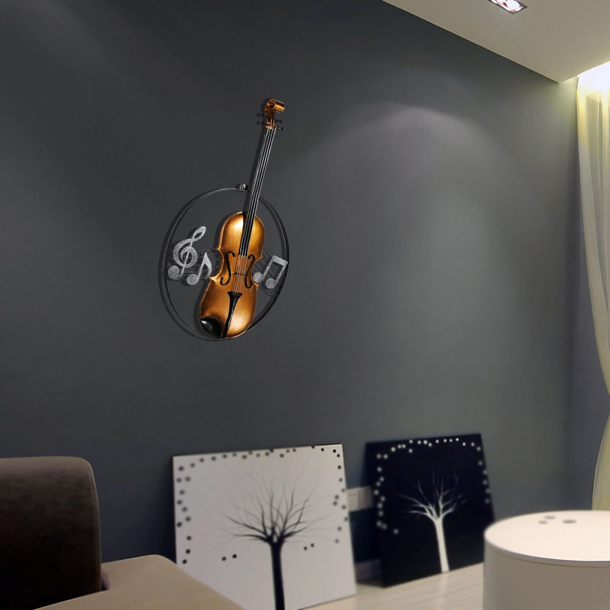 Tooarts metal wall sculpture violin hanging ornament home decor tooarts metal wall sculpture violin hanging ornament home decor wall hangings decor music instrument craft gift in statues sculptures from home garden amipublicfo Choice Image