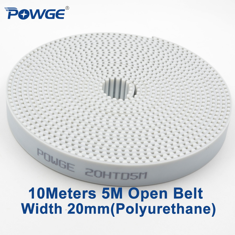 POWGE 10Meters PU White HTD 5M Open Synchronous belt 5M-20mm Width 20mm Polyurethane steel Arc Tooth 20HTD5M Timing Belt gear htd 5m arc htd tooth lenght 600 700 800 mm pitch 5mm synchronous timing belt cnc 3d printer engraving machine part reciprocating