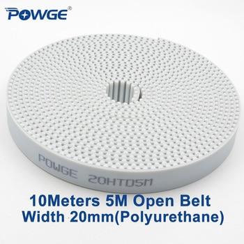 Powge 10 metros blanco pu HTD 5 M abierto correa síncrona 5 M-20mm ancho 20mm poliuretano acero diente arco 20HTD5M correa dentada engranaje
