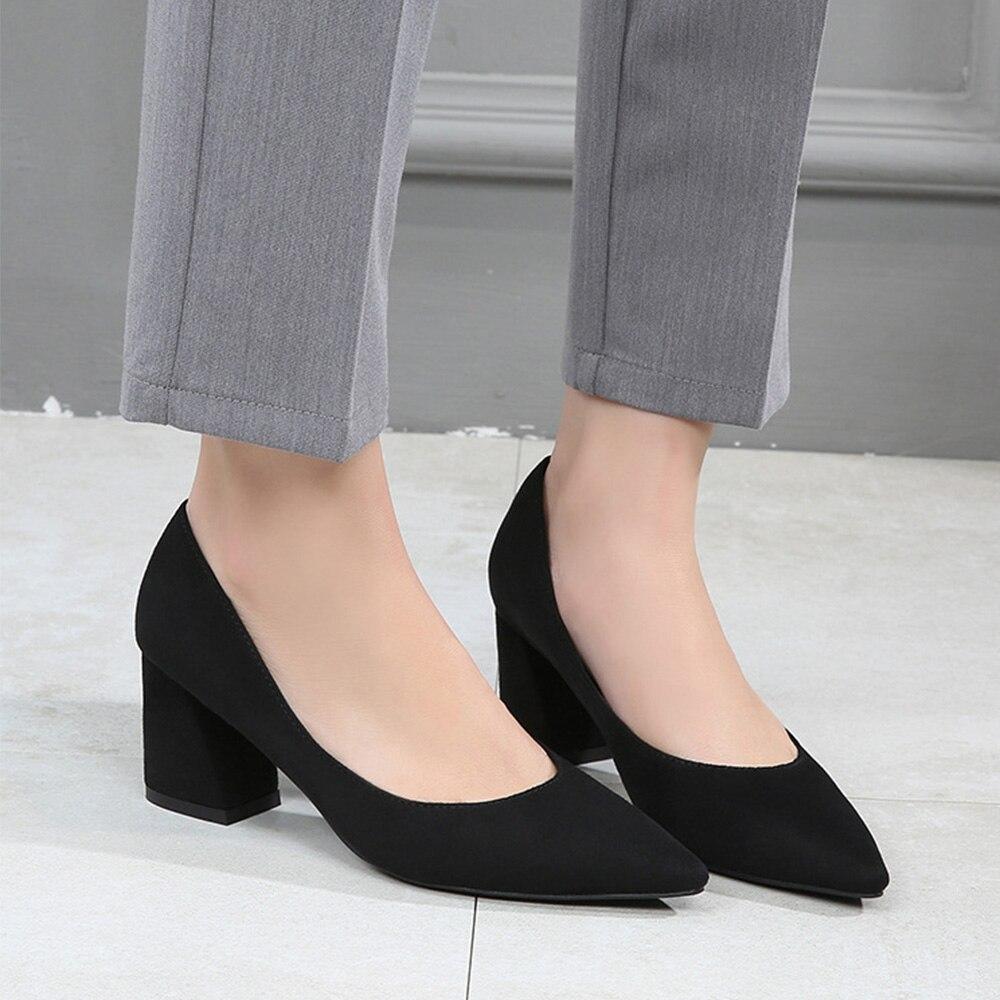 WEIQIAONA 2019 nouveau printemps enfant daim mode femmes chaussures bout pointu talons hauts dames chaussures de travail chaussures habillées